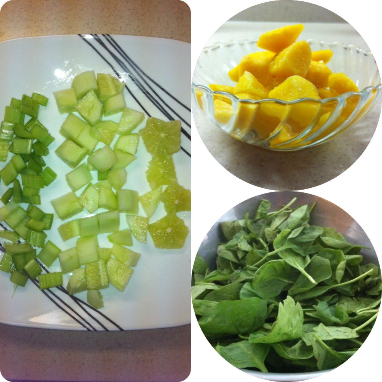 mangoes, cucumber, stalk