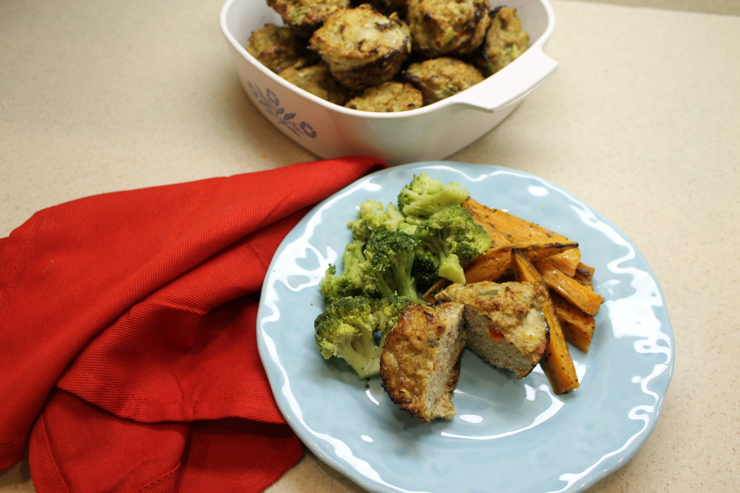 sweet potato fries and steamed broccoli