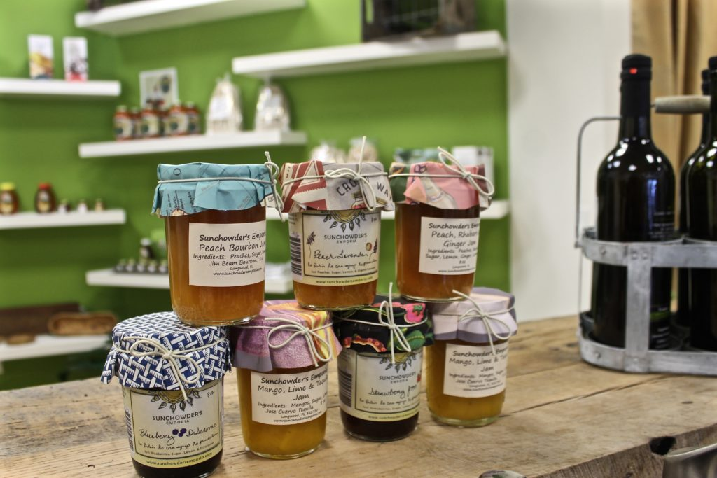local jams, honey, and pickled goods