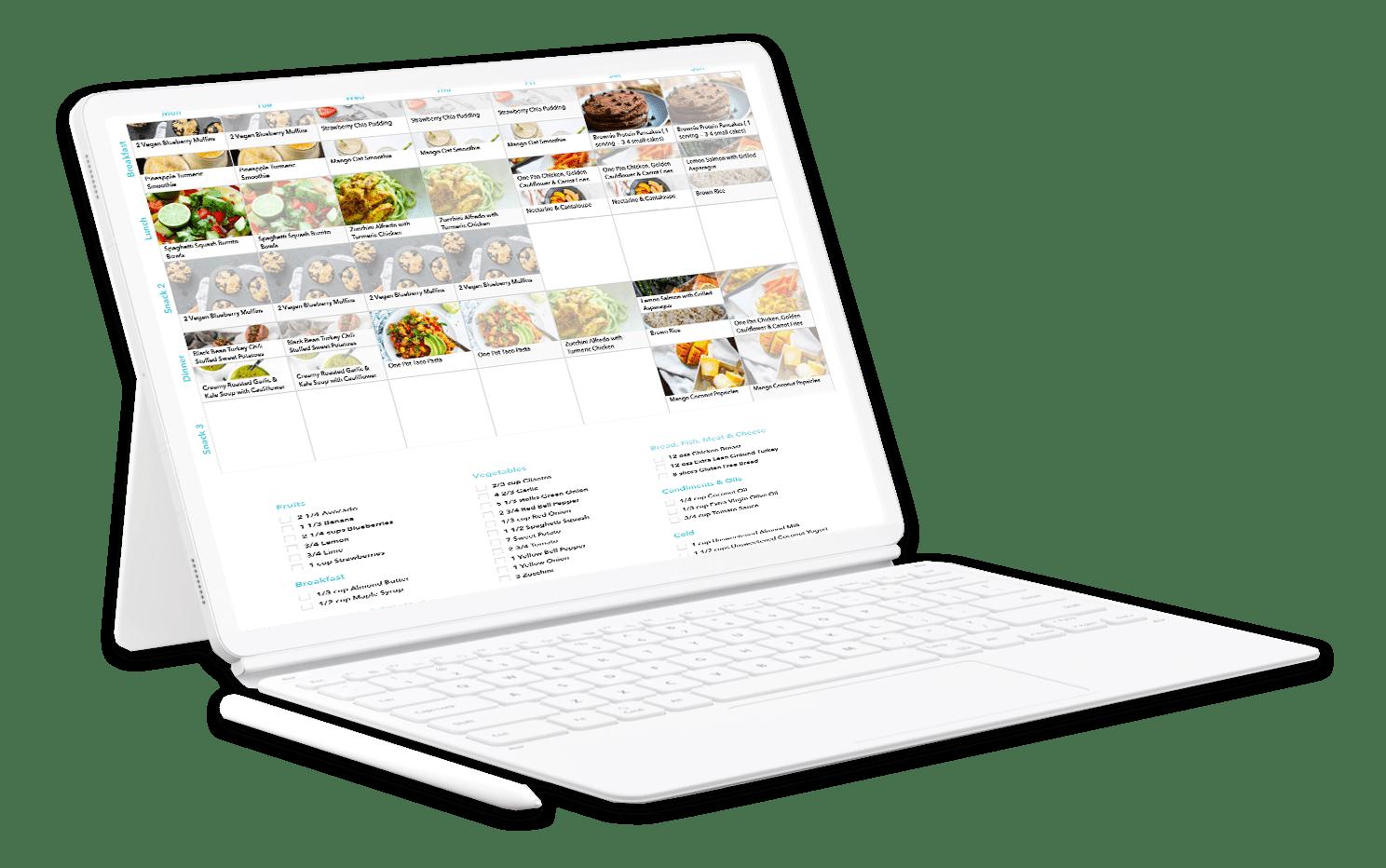 Weekly meal plan shown in laptop