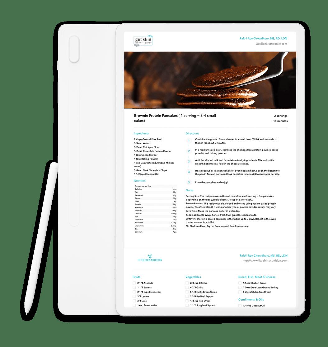 Chocolate Pancake Recipe shown in tablet